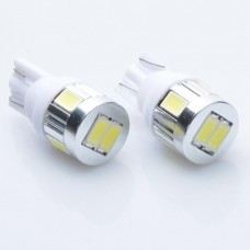 2pcs T10 DC 12V 0.5W SMD 5630 6 LEDs Car License Plate Lamp Bulb with Lens - White