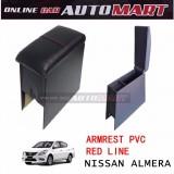 Armrest PVC Red Line For Nissan Almera