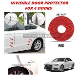 Audi A4 - 16FT/5M (RED) Moulding Trim Rubber Strip Auto Door Scratch Protector Car Styling Invisible Decorative Tape (4 Doors)