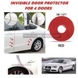 Audi A5 - 16FT/5M (RED) Moulding Trim Rubber Strip Auto Door Scratch Protector Car Styling Invisible Decorative Tape (4 Doors)