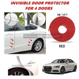 Audi A6 - 16FT/5M (RED) Moulding Trim Rubber Strip Auto Door Scratch Protector Car Styling Invisible Decorative Tape (4 Doors)