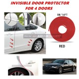 Audi A8 - 16FT/5M (RED) Moulding Trim Rubber Strip Auto Door Scratch Protector Car Styling Invisible Decorative Tape (4 Doors)