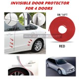 Alfa Romeo 156 - 16FT/5M (RED) Moulding Trim Rubber Strip Auto Door Scratch Protector Car Styling Invisible Decorative Tape (4 Doors)