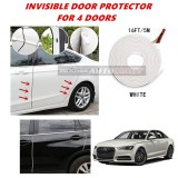 Audi A6 - 16FT/5M (WHITE) Moulding Trim Rubber Strip Auto Door Scratch Protector Car Styling Invisible Decorative Tape (4 Doors)