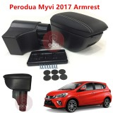 PERODUA MYVI 2017 PVC Adjustable Arm Rest Armrest Center Console Box Black Leather 4 USB
