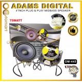 "Adams Digital 4""Inch Plug & Play Mid Bass Speaker System Myvi Lagi Best / Myvi Old / Myvi Icon OM-445"