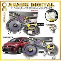"Adams Digital For Perodua Bezza 6"" Mid Bass & 6"" 2-Way Coaxial Plug & Play Oem Car Speaker (om-650 + omc-602)"