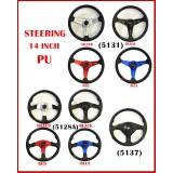 M O M O 14 Inch PU Steering Wheel Car Racing Sport Steering Wheel - Black Blue Red Silver