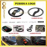 Logo Emblem Matte Black / Carbon For Perodua Viva Aruz Myvi Lagi Best Icon Alza Bezza Axia Kelisa (Front & Rear)