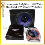 """Carrozzerria Roadmark Amplifier Woofer Set With Woofer Box 2 Channel Amp And 12"""" Woofer"""
