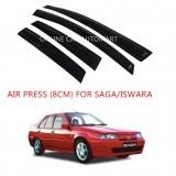 Air Press Car Window Door Visor Wind Deflector Anti UV Light 8cm (4PCS/SET) for Proton Saga/Iswara